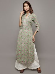 Green Pink Block Printed Cotton Kurta with White Palazzo - Set of 2