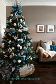 Margaret's striking blue and silver Christmas tree