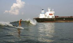 Have you ever heard of tanker surfing? The best lace to do it is on Galveston Bay.
