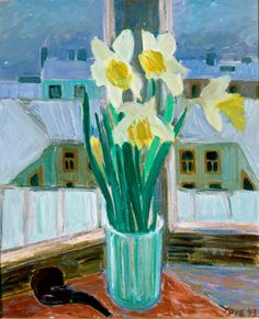 TOVE JANSSON Narsissiasetelma (A Composition of Daffodils,1943) Tove Jansson, Impressionist Paintings, Nordic Design, Conceptual Art, Daffodils, Folk Art, Modern Art, Abstract Art, Photo Wall