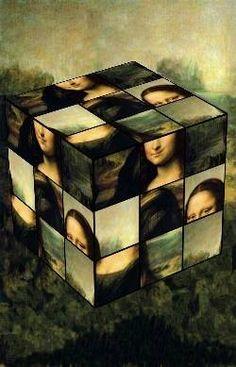 Scrambled up Mona on a Rubik's cube Michelangelo, Monet, Lisa Gherardini, Mona Lisa Parody, Mona Lisa Smile, Collage, Italian Artist, Oeuvre D'art, Vincent Van Gogh
