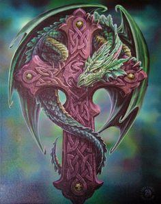 CELTIC DRAGON Wall Plaque Art Print Anne Stokes GUARDIAN DRAGON Celtic Cross art