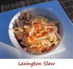 When I first read through this recipe for Lexington slaw (where I found it, I can't recall) I thought someone had lost their mind. Ketchup? In a slaw? Huh? What? How's that going to work?  Well, it does work, and it works very nicely in fact. The tomato flavor isn't overwhelming and it's really a great change from your normal vinegary slaw. The dressing is thin, so it's not like a thick creamy sauce. The chili powder adds a good earthy southwestern kick, and the hot sauce finishes the deal.