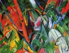 "Franz Marc | Rain | 1912. Franz Marc explored the psychological effects of color and line in daring abstract compositions. Following a doctrine of ""inner necessity,"" The Blue Rider ceased representing the ""real"" world and, instead, painted visions derived from the ""inner mind."""