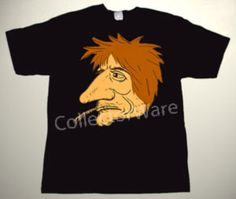 ROLLING STONES Ronnie Wood cartoon 2 CUSTOM ART UNIQUE T-SHIRT Each T-shirt is individually hand-painted, a true and unique work of art indeed!  To order this, or design your own custom T-shirt, please contact us at info@collectorware.com, or visit http://www.collectorware.com/tees-Stones_andrelated.htm