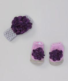Purple & Gray Flower Headband & Socks #zulily #zulilyfinds