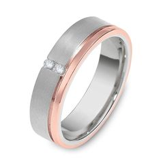 Rose Gold and White Gold Mens Wedding Band