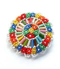 Vintage Handmade Beaded Brooch Colorful Seed Bead by kiamichi7, $58.00