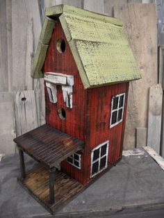 Vintage two story barn birdhouse. Made with reclaimed lumber and distressed.. $75.00, via Etsy.