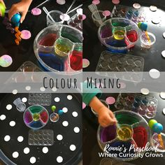 Our Tuff Tray filled with makeup cotton pads watercolours pipettes and recyclable trays. Simple science exploration for toddlers and preschoolers.
