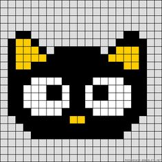 little kitty just because! Pony Bead Patterns, Pearler Bead Patterns, Perler Patterns, Loom Patterns, Beading Patterns, Mini Cross Stitch, Beaded Cross Stitch, Cross Stitch Embroidery, Pixel Art Templates