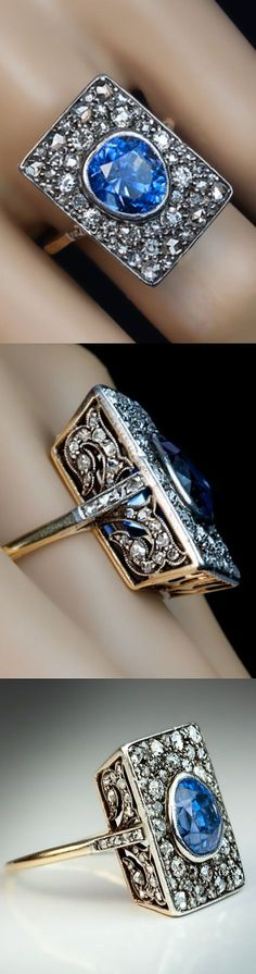 awesome An Unusual Antique Sapphire and Diamond Engagement Ring circa 1900 The rectangul...