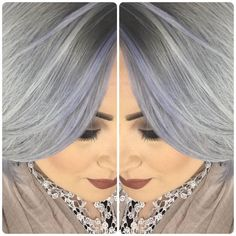 """Ashlea Morris ( a Robert Cromeans salon stylist, Paul Mitchell International Educator and """"Proud stage assistant to Angus Mitchell"""" used all Paul Mitchell color and products for this gray that has beautiful shine and consistency. Grey Hair Modern, Paul Mitchell Color, Hair Color Formulas, Mom Hairstyles, Edgy Hair, Hair Humor, Silver Hair, Purple Hair, New Hair"""