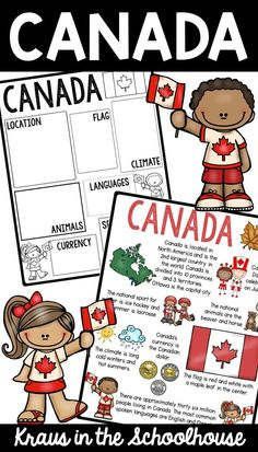 Are you teaching your students facts about Canada? These activity sheets are for kids to learn information about Canada. Map and flag of Canada are included. Social Studies Activities, Teaching Social Studies, Educational Activities, American History Lessons, Canadian History, Canada For Kids, Canada Canada, Canada Information, Facts About Canada