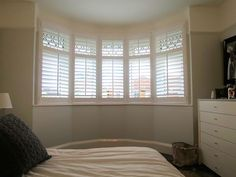 Bay Window Plantation Shutters Fitted in Southampton Bay Window Shutters, Bay Windows, Shutter Designs, Custom Window Treatments, Southampton, Window Coverings, Valance Curtains, Family Room, Living Room
