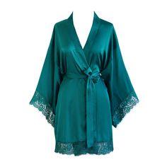 Kimono Short Robe - Lace Trim