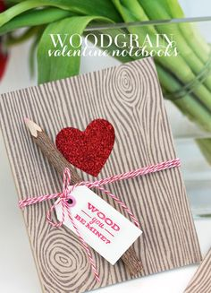 Woodgrain Valentine Notebooks - Damask Love