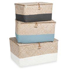 3 boîtes de rangement tressées en vannerie tricolore