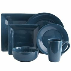 Essential Dinnerware - Teal.  Bought the round dinner plates, bowls and coffee cups.  Looks amazing with my colorful little plate between the dinner plate and bowl!!!
