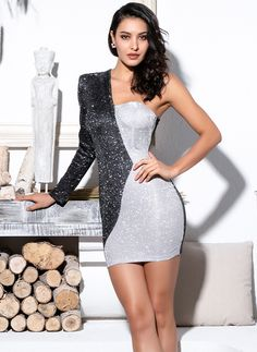 2b7c4902758 Karisa Black And Silver Irregular Glitter Mini Dress. Silver Glitter