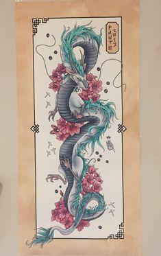 Dragon Tattoo Art, Dragon Tattoo Designs, Dragon Art, Spirited Away Art, Spirited Away Tattoo, Haku Spirited Away Dragon, Ghibli Tattoo, 16 Tattoo, Tattoo Blog