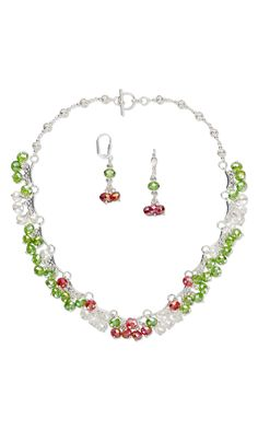 Jewelry Design - Single-Strand Necklace and Earring Set with Celestial Crystal® Beads and Silver-Plated Links - Fire Mountain Gems and Beads