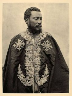 This is an original 1930 photograph of a portrait of the Governor, wearing the ceremonial robe of State, of the city of Axum or Aksum, Abyssinia (present-day Ethiopia).  Photograph by Von Lüpke, Deutsche Aksum-Expedition.