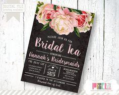 Chalkboard Floral Bridal Tea Invitation, Bridesmaid Luncheon Invite, Vintage Peony - CUSTOMIZABLE & PRINTABLE INVITATION - Pink and Black