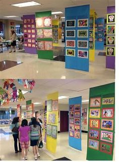 """art show, art display paper hanging display """"boards"""" a piece of dowel taped at the bottom might help it hang nicely School Displays, Classroom Displays, Classroom Organization, Art Classroom Decor, Middle School Art, Art School, High School, School Fair, Classe D'art"""