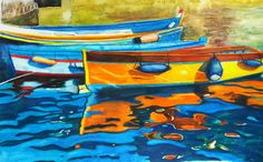 My 4th #watercolour #painting #fishingboats #waterreflection attending Art classes. This is from a photograph that I took while... Vespa tripping along the Amalfi Coast 2015. This place is called Cetara Costiera Amalfitana ...
