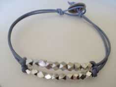 DIY Leather Bracelet with Silver Nugget Beads Halley please make me this. It could be my Christmas gift?