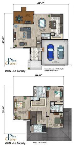 home layout plans 512284526359018073 - 827 – Le Samaty Cottage Dream House Plans, Modern House Plans, Small House Plans, Modern House Design, House Floor Plans, Design Your Own Home, Home Design Plans, Plan Design, Quiz Design
