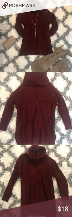 Burgundy Tunic Sweater Burgundy turtle neck tunic. Features an opening on the back. Can be worn with over the knee boots, leggings, booties etc.  Size is M/L. 100% Acrylic. My price is firm. No trades. First come, first served. Thank you! :) Sweaters Cowl & Turtlenecks