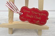 Sometimes, Santa Claus brings a present for a special boy or girl just from him, and he likes to tell them they've made it on the good list! This wooden gift tag reads, 'Special Delivery from Santa Claus'. It is hand-painted and engraved using a laser cutter. IT is available in red with lighter lettering or in a natural wooden finish with red lettering. It can be personalised on the back with the name of the special child ... or adult if Santa still bring gifts to well-behaved…