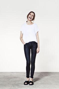 JUST FEMALE SS 2015 / Odella Tee / Used leather trousers // Model : Emma Oak