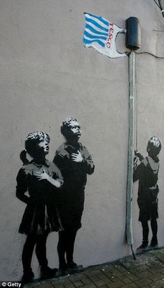 Pictures: Best of Banksy Graffiti. The graffiti shows a child lifting the plastic bag of a Tesco as Banksy Graffiti, Banksy Work, Banksy Canvas, Bansky, Banksy Artist, Graffiti Artwork, Murals Street Art, Street Art Banksy, Think Tank