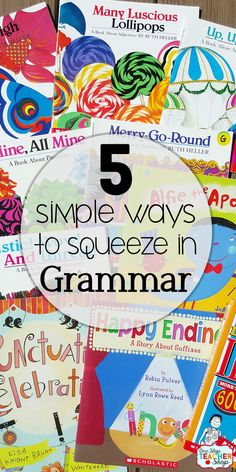 Grammar: 5 Simple Ways to Squeeze it in Daily Grammar is so hard to focus on during the day. I love these simple ways to squeeze it into your day! Grammar Activities, Teaching Grammar, Teaching Language Arts, Grammar Lessons, Grammar Review, English Language Arts, Teaching Writing, Teaching English, Teaching Spanish