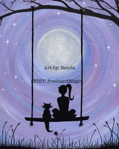 A Girl and her Cat Sure to capture hearts. Get lost in this dreamy, heartfelt silhouette of a girl and her Cat sitting on a swing under the majestic full moon. This is my 2nd Acrylic on Canvas painting. I used five basic colors (black white red blue yellow) blended to create the