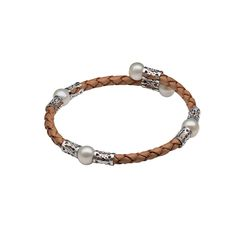 Tan Teton Mountaineering Leather & Pearl Bracelet - Pearls by Shari - National Cowboy Museum