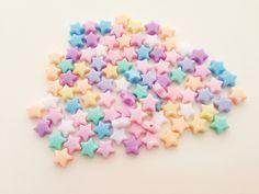 100 pcs Tiny Stars mix colors plastic pastel beads by Belganem, ฿90.00