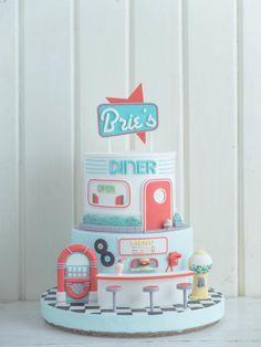 Milkshakes, Popcorn and Diner Dreams Birthday Party Images, 13th Birthday Parties, 16th Birthday, Candy Birthday Cakes, Beautiful Birthday Cakes, Fondant Figures, Specialty Cakes, Sugar Art, Creative Cakes