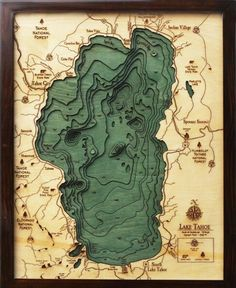 "LAKE TAHOE 16"" x 20"", Laser-Cut, 3-Dimensional Topographic Wood Chart/Lake Art Map"