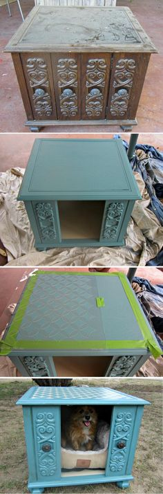 Lets Upcycle! Awesome DIY upcycled furniture ideas - this one's great for your small pet! Reclaimed Furniture, Pet Furniture, Repurposed Furniture, Painted Furniture, Furniture Ideas, Modern Furniture, Lounge Furniture, Pet Food Storage, Animal Room