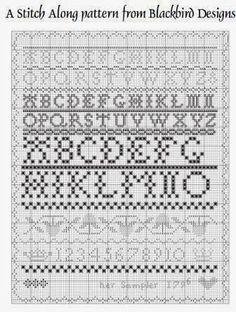 """Via Annette, California Stitcher  kwam ik """"Her Sampler-1796"""" van Blackbird Designs  op het spoor en het leek me een uitdaging om 'm te maken..."""