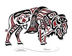 """Thunderer"" - New Haida/Tlingit Style, Native American Bison, Buffalo                                                                                                                                                                                 More Native American Totem, Native American Artwork, Native American Symbols, Native American Design, American Indian Art, American Bison, American Women, American Indians, American History"