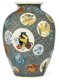 A Satsuma Vase Signed Satsuma Shuho ga with Shimazu mon, Meiji Period (late 19th century) Decorated in typical coloured enamels and gilt on a blue wave ground with roundels depicting various forms of Chinese and Japanese ceramics, butterflies in spider's webs, landscapes and snails on leaves