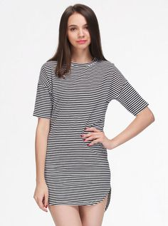 Basic Simple Mini Dress Classic Wear Must Have Black & White Stripes 2/3 Sleeve #Unbranded #ShirtDress #Casual
