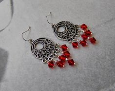 Red and Silver Earrings with Red Crystal Glass Beads, Czech Silver Smooth Glass Beads and Antique Silver Pendant by SmockandStone on Etsy Crystal Earrings, Silver Earrings, Drop Earrings, Wire Jewelry, Beaded Jewelry, Designer Earrings, Handcrafted Jewelry, Antique Silver, Glass Beads