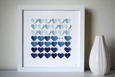 Lyric Wedding Gift Frame - 3D Song Hearts Framed Art Wedding or Anniversary - Blue Color Fade (Unique wedding or anniversary present). $78.00, via Etsy.