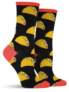 Add some extra meat, tomato and lettuce into your diet with these awesomely colorful food socks in either purple or black. No need to wait until Tuesday, feel free to indulge in your Mexican food crav Silly Socks, Funky Socks, Crazy Socks, Cute Socks, Awesome Socks, Women's Socks, Food Socks, Novelty Socks, Sock Shoes
